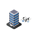 Isometric office building icon, building city infographic element, vector illustration Royalty Free Stock Photo
