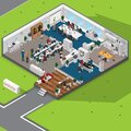 Isometric office with people. Vector illustration decorative design Royalty Free Stock Photo