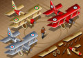 Isometric old vintage biplanes in front view detailed illustration of a three livery this illustration is saved eps with color Royalty Free Stock Images