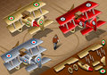 Isometric old vintage biplanes in rear view detailed illustration of a three livery this illustration is saved eps with color Stock Photo