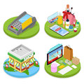 Isometric Online Shopping Concept. Mobile Payment. Internet Beauty Store. Electronic Business
