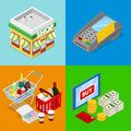 Isometric Online Shopping Concept. Mobile Payment. Internet Store. Electronic Business