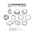 Isometric outline icons set 46