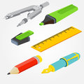 Isometric pair of compasses, fountain pen, pencil, ruler and mar Royalty Free Stock Photo