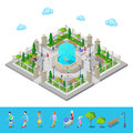 Isometric Park. City Park. Active People Outdoors