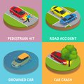 Isometric pedestrian hit, road accident, drowned car and car crash concept