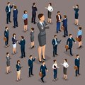 Isometric people, businessmen 3D business woman. Set 2 Office staff, the crowd of people, under the head on a dark background