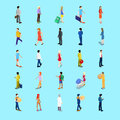 Isometric People Collection. Businessman, Tourist, Mother with Baby Carriage, Walking People