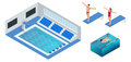 Isometric people diving into water in to the swimming pool, diver. Male swimmer, that jumping and diving into indoor Royalty Free Stock Photo