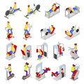 Isometric People at the Gym. Sportsmen Workout. Sports Equipment. Fitness Exercises