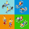 Isometric People at the Gym. Sportsmen Workout. Sports Equipment