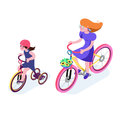 Isometric People. Isometric Bicycle isolated. Family Cyclists group riding bicycle. Cyclist icon. Royalty Free Stock Photo