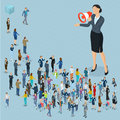 Isometric people with loudspeaker. Royalty Free Stock Photo