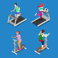 Isometric People. Man and Woman Running on Treadmill in Gym