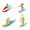Isometric People on Water Activity. Woman Surfer, Water Skiing, Man Hydrocycle