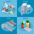 Isometric Pharmaceutical Industry Square Composition Royalty Free Stock Photo