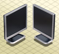 Isometric Photograph - Set of two position LCD mon Royalty Free Stock Image
