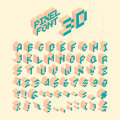Isometric Pixel Font, Vector Letters, Alphabet Royalty Free Stock Photo