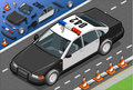 Isometric police car in front view detailed illustration of a this illustration is saved eps with color space rgb Stock Photography