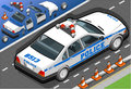 Isometric police car in rear view detailed illustration of a this illustration is saved eps with color space rgb Stock Image