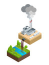 Isometric Pollution of the environment concept. The plant pours dirty water into the river, the pipes smoke and pollute