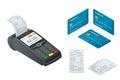 Isometric POS Terminal, debit credit card, Sales printed receipt. Royalty Free Stock Photo