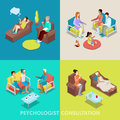 Isometric Psychologist Consultation. People on Psychotherapy