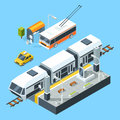 Isometric public transport stations. Bus and train. City road and rails. Vector illustrations isolate on white