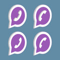 Isometric purple phone handset in speech bubble icon. Royalty Free Stock Photo