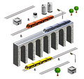 Isometric railroad a set of vector elements with train Stock Photos
