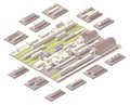 Isometric railroad yard vector rail with set of cars and locomotives Royalty Free Stock Images