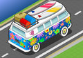 Isometric rainbow van in front view detailed illlustration of a this illustration is saved eps with color space rgb Stock Photography