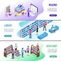 Isometric read book banner. Online library books with bookmark, reading ebook and research textbook vector banners