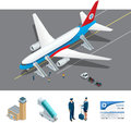 Isometric representing airport, international airlines Royalty Free Stock Photo
