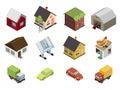 Isometric retro flat cars house real estate icons and symbols set isolated vector illustration Royalty Free Stock Image