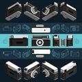 Isometric retro photo camera, 3D. Set 2