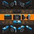 Isometric retro photo camera, 3D. Set 3