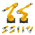 Isometric robotic arm, hand, industrial robot flat vector icons set. Robotics Industry Insights. Automotive and