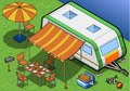 Isometric roulotte in camping in front view detailed illustration of a this illustration is saved eps with color space rgb Royalty Free Stock Photo