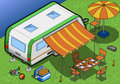 Isometric roulotte in camping in rear view detailed illustration of a this illustration is saved eps with color space rgb Royalty Free Stock Photos