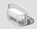 Isometric round white cot. Baby Crib. Modern nurse design. Vector illustration eps 10 isolated.