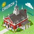 Isometric rural church building old place of worship american liberty house of god Royalty Free Stock Photo