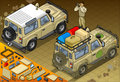 Isometric safari jeep in rear view detailed illustration of a with guide this illustration is saved eps with color space rgb Royalty Free Stock Images