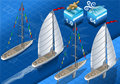Isometric sailships w nawigaci Obrazy Stock