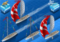 Isometric sailships w nawigaci Obrazy Royalty Free