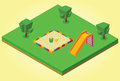Isometric sandbox and slides illustration of Royalty Free Stock Photo