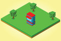 Isometric security cabin illustration of Royalty Free Stock Image