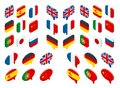 Isometric set flags of the world. Vector isolated flags icons Royalty Free Stock Photo