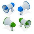 Isometric set of megaphone, bullhorn, loudspeaker isolated on white background.