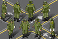 Isometric set of military man in eight position Royalty Free Stock Photos